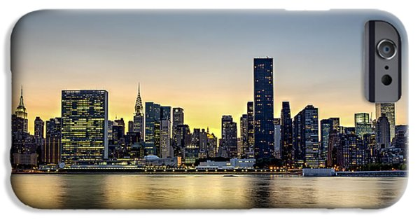 America iPhone Cases - New York City Dusk Colors iPhone Case by Susan Candelario