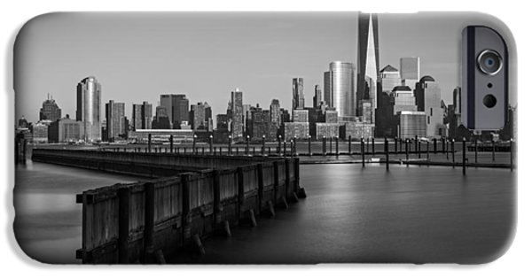 Hudson River iPhone Cases - New York City Financial District BW iPhone Case by Susan Candelario