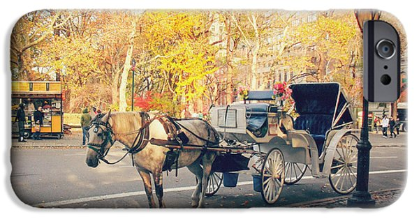 Buggy iPhone Cases - New York City - Horse and Carriage - Autumn iPhone Case by Vivienne Gucwa