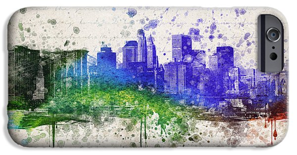 Skylines Mixed Media iPhone Cases - New York City in Color iPhone Case by Aged Pixel