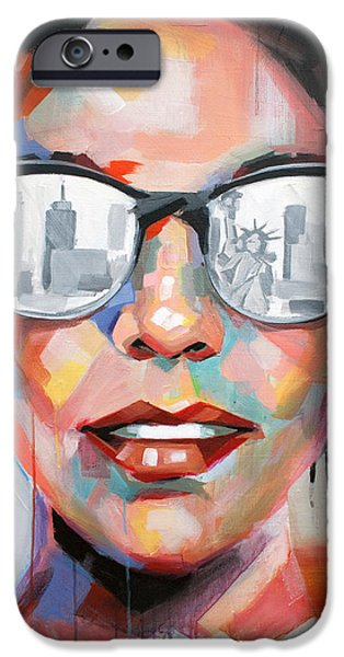 Statue Portrait Paintings iPhone Cases - New York City iPhone Case by Julia Pappas