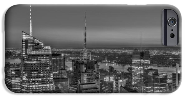 North America iPhone Cases - New York City Midtown BW iPhone Case by Susan Candelario