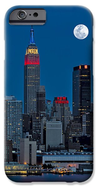 Hudson River iPhone Cases - New York City Moonrise  iPhone Case by Susan Candelario
