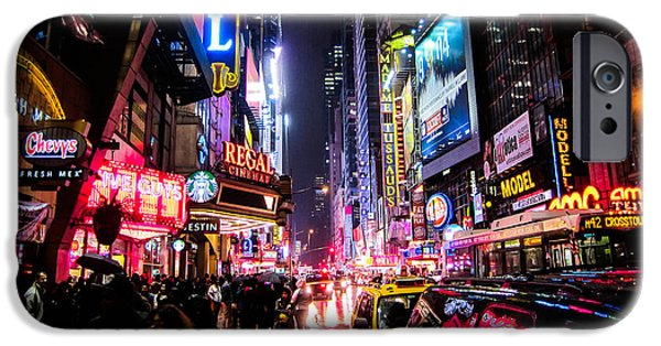 Sign iPhone Cases - New York City Night iPhone Case by Nicklas Gustafsson