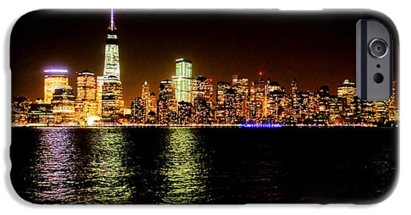 Hudson River iPhone Cases - New York City Night iPhone Case by Olivier Le Queinec