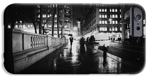 Nyc Rain iPhone Cases - New York City - Night Rain iPhone Case by Vivienne Gucwa