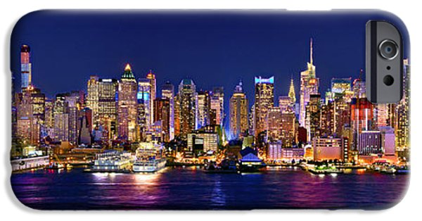 City Scene iPhone Cases - New York City NYC Midtown Manhattan at Night iPhone Case by Jon Holiday