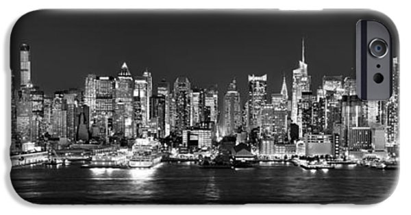 City Scene iPhone Cases - New York City NYC Skyline Midtown Manhattan at Night Black and White iPhone Case by Jon Holiday