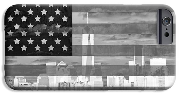 Skylines Mixed Media iPhone Cases - New York City On American Flag Black And White iPhone Case by Dan Sproul