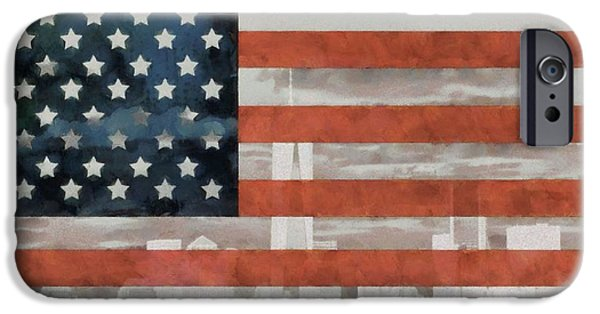 Red White And Blue Mixed Media iPhone Cases - New York City On American Flag iPhone Case by Dan Sproul