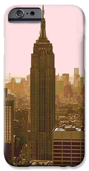 Empire State Mixed Media iPhone Cases - New York City Poster iPhone Case by Dan Sproul