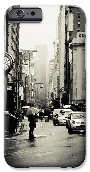 Umbrella iPhone Cases - New York City - Rain - 5th Avenue iPhone Case by Vivienne Gucwa