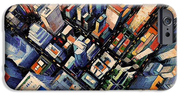 Business Paintings iPhone Cases - New York City Sky View iPhone Case by Mona Edulesco