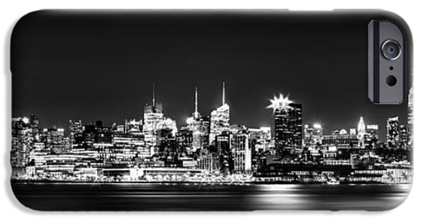 New Jersey iPhone Cases - New York City Skyline - BW iPhone Case by Az Jackson
