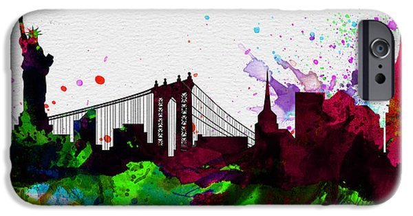 City Scenes Paintings iPhone Cases - New York City Skyline 2 iPhone Case by Naxart Studio
