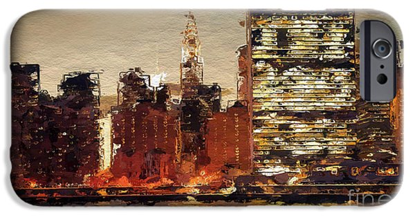 Manhaten iPhone Cases - New York City Skyline abstract 2 iPhone Case by Anthony Fishburne