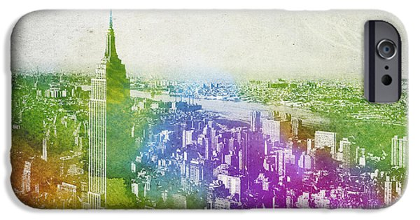 Downtown Mixed Media iPhone Cases - New York City Skyline iPhone Case by Aged Pixel