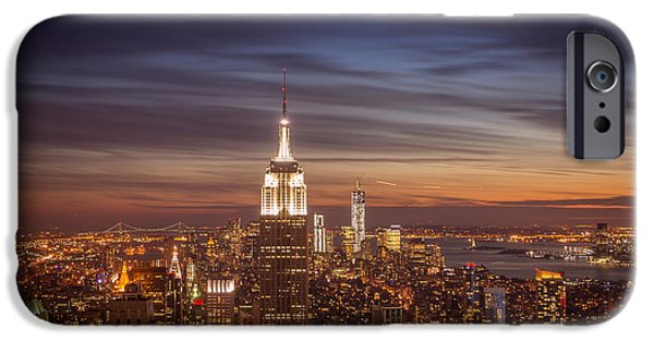 Freedom iPhone Cases - New York City Skyline and Empire State Building at Dusk iPhone Case by Vivienne Gucwa