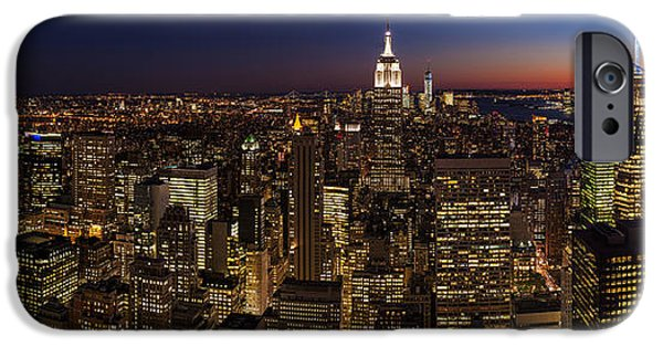 Times Square iPhone Cases - New York City Skyline At Dusk iPhone Case by Mike Reid
