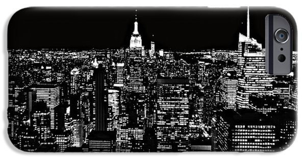 Empire State iPhone Cases - New York City Skyline At Night iPhone Case by Dan Sproul