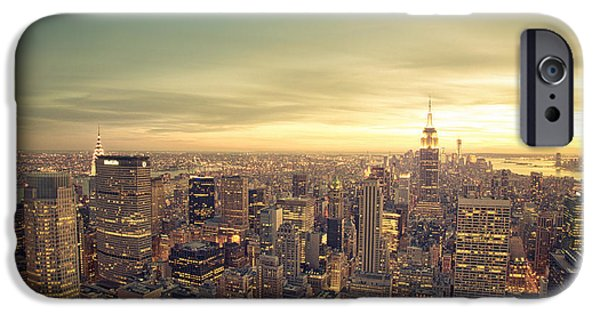 Freedom iPhone Cases - New York City - Skyline at Sunset iPhone Case by Vivienne Gucwa