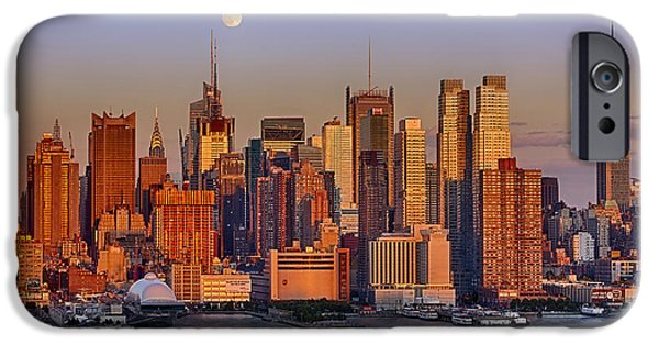 Chrysler iPhone Cases - New York City Skyline Full Moon And Sunset iPhone Case by Susan Candelario