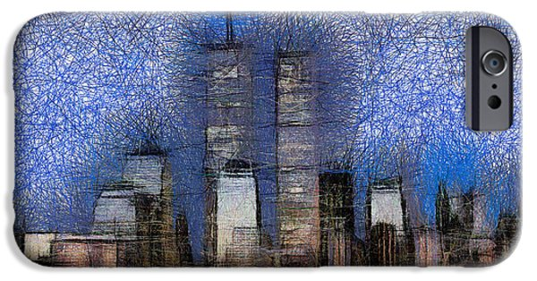 Twin Towers Nyc iPhone Cases - New York City Skyline iPhone Case by Georgi Dimitrov