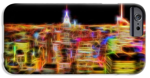 Skylines Mixed Media iPhone Cases - New York City Skyline Glowing Lights iPhone Case by Dan Sproul