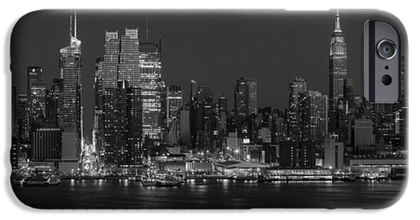 United States iPhone Cases - New York City Skyline In Christmas Colors BW iPhone Case by Susan Candelario