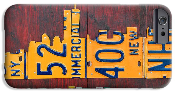 Cities Mixed Media iPhone Cases - New York City Skyline License Plate Art 911 Twin Towers Statue of Liberty iPhone Case by Design Turnpike