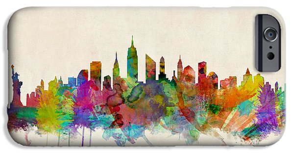 Watercolor iPhone Cases - New York City Skyline iPhone Case by Michael Tompsett