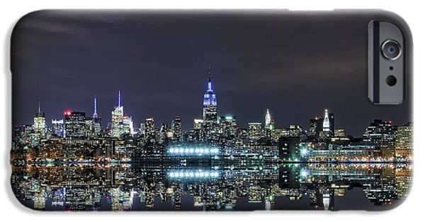 Hudson River iPhone Cases - New York City Skyline Night USA iPhone Case by Sabine Jacobs