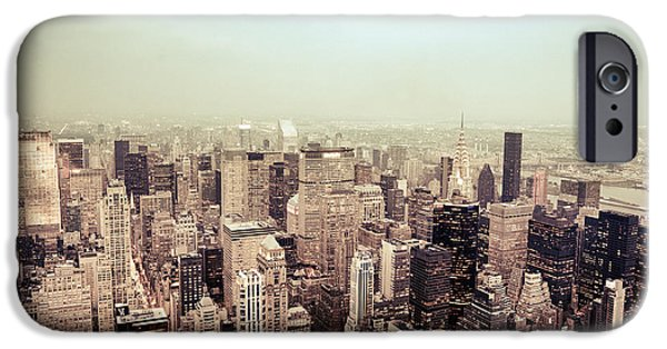 Nyc Rain iPhone Cases - New York City - Skyline on a Hazy Evening iPhone Case by Vivienne Gucwa