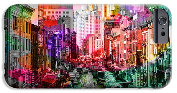 Manhattan iPhone Cases - New York City Skyline Painting iPhone Case by Marvin Blaine