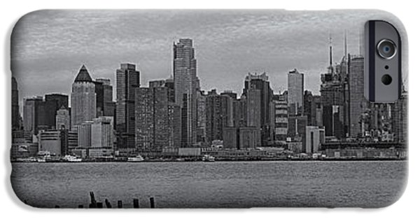 United States iPhone Cases - New York City Skyline Panoramic bw iPhone Case by Susan Candelario
