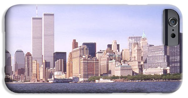 Twin Towers iPhone Cases - New York City Skyline Panoramic iPhone Case by Mike McGlothlen