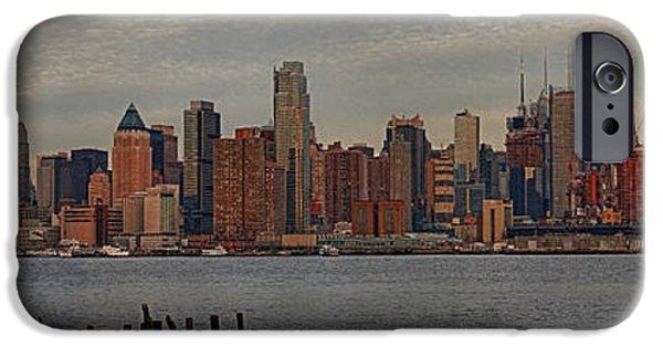 Manhattan iPhone Cases - New York City Skyline Panoramic iPhone Case by Susan Candelario