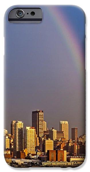 42nd Street iPhone Cases - New York City Skyline Rainbow iPhone Case by Susan Candelario