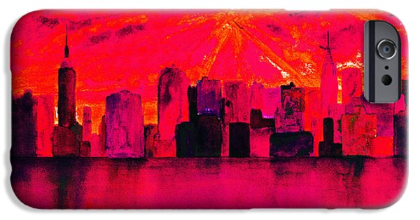 Abstract Digital Paintings iPhone Cases - New York City Skyline Red iPhone Case by Ken Figurski