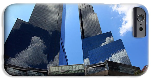 Citylife iPhone Cases - New York City Skyline Reflecting Clouds iPhone Case by Wayne Moran