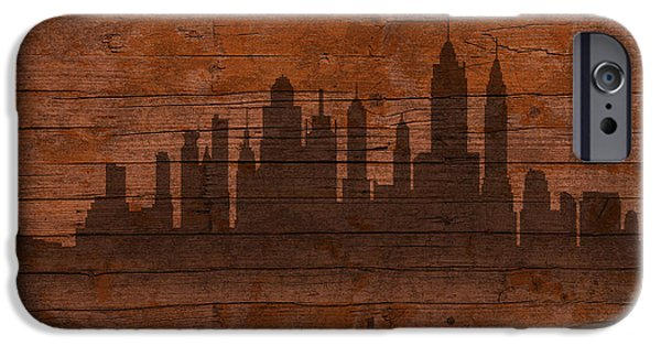Skylines Mixed Media iPhone Cases - New York City Skyline Silhouette Distressed on Worn Peeling Wood iPhone Case by Design Turnpike
