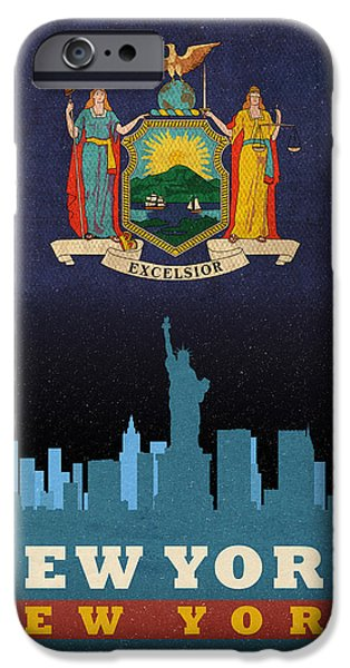 Nyc Mixed Media iPhone Cases - New York City Skyline State Flag of New York NYC Manhattan Art Poster Series 005 iPhone Case by Design Turnpike