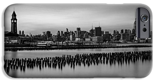 Water iPhone Cases - New York City Skyline Stillness BW iPhone Case by Susan Candelario