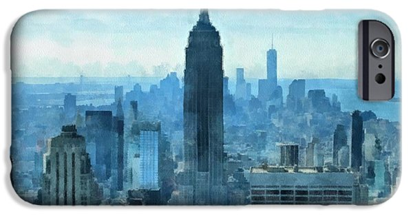 Skylines Mixed Media iPhone Cases - New York City Skyline Summer Day iPhone Case by Dan Sproul