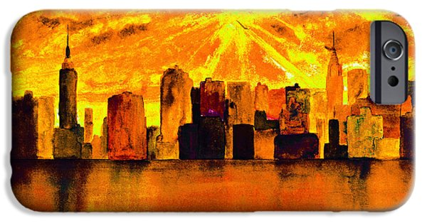 Abstract Digital Paintings iPhone Cases - New York City Skyline Yellow orange iPhone Case by Ken Figurski