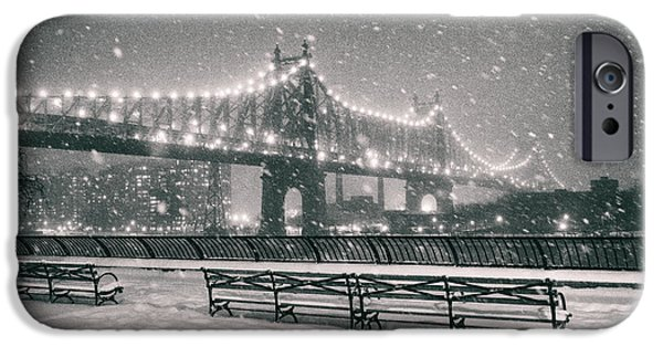 Sutton iPhone Cases - New York City - Snow at Night - Sutton Place iPhone Case by Vivienne Gucwa