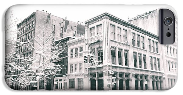 Winterscape iPhone Cases - New York City - Snow in Soho iPhone Case by Vivienne Gucwa