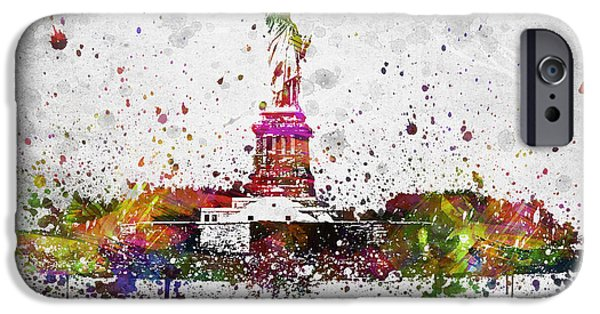 City Scape Digital Art iPhone Cases - New York City Statue of Liberty iPhone Case by Aged Pixel