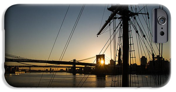 Tall Ship iPhone Cases - New York City Sunrise - Tall Ships and Brooklyn Bridge iPhone Case by Georgia Mizuleva