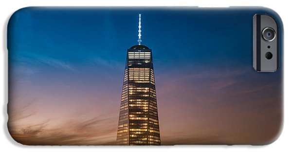 Freedom iPhone Cases - New York City - Sunset and One World Trade Center iPhone Case by Vivienne Gucwa